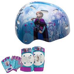 Disney Frozen Girls Skate Helmet, Pads and Gloves - 7 Piece