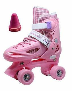 WiiSHAM Fun Roll Adjustable Canvas Roller Skates with Four P