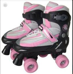Mongoose Girl's Quad Roller Skates - Adjustable Size 1-4 Sma