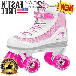 girls firestar roller skates white pink size