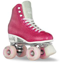 Girls Ladies Roller Skate PINK Glitter GLAM Kids Boot Quad b