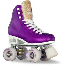 Girls Ladies Roller Skate PURPLE Glitter GLAM Kids Boot Quad