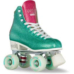 Girls Ladies Roller Skate TEAL Glitter GLAM Kids Boot Quad b