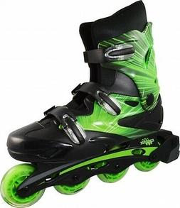 Linear Green Lazer Inline Skates - Indoor Outdoor Roller Bla