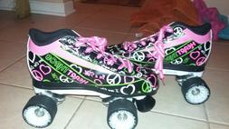 heart throb roller skates black and white and green and pink