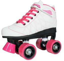 Lenexa Hoopla Birthday Roller Skates - White and Pink Girls/
