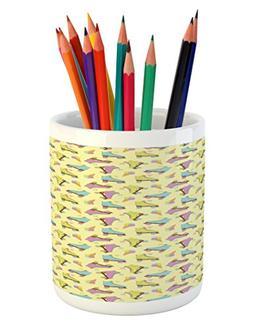 Lunarable Ice Cream Pencil Pen Holder, Pastel Colored Roller