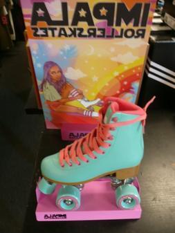 Impala Quad Roller Skates - Aqua w/ Aqua Wheels  Size 7