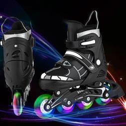 Inline Skate Rollerblade Roller Blades Boots Adjustable Flas