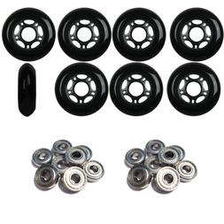 Black 72mm 82A Inline OUTDOOR Skate Wheels + ABEC 5'S