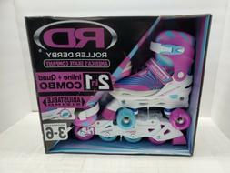 Roller Derby Inline Skates Quad Roller Combo Girls Size 3-6
