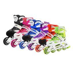 Kids Adjustable Inline Skates Roller Blades Light Up Scale S