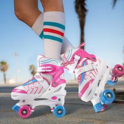 Kids Adjustable Size Roller Skates Double Row PVC Wheel Mesh