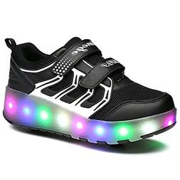 YSNJL Kids Boys Girls High-Top Shoes LED Light Up Sneakers S