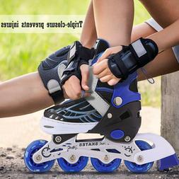 kids in outdoor inline skates adjustable rollerblades