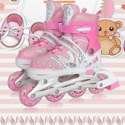 Kids Inline Skates Combo Set For Girls Boys Blue Pink S/M Si