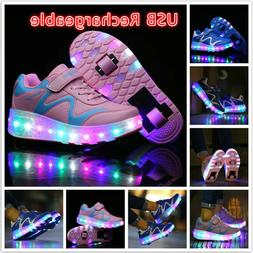 Kids Led Light Up Roller Skates Shoes Rechargeable Dual Whee