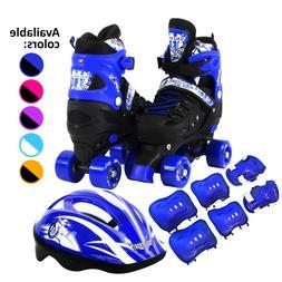 Kids Quad Roller Skates Combo Set 6 PCS Protective Gear Helm