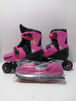 Kids Size 12 to 2  Barbie 2 In 1 Roller Skates With Skate At