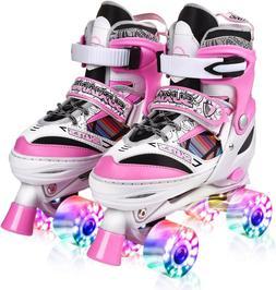 Kuxuan Adjustable Roller Skates for Kids,with All Wheels Lig