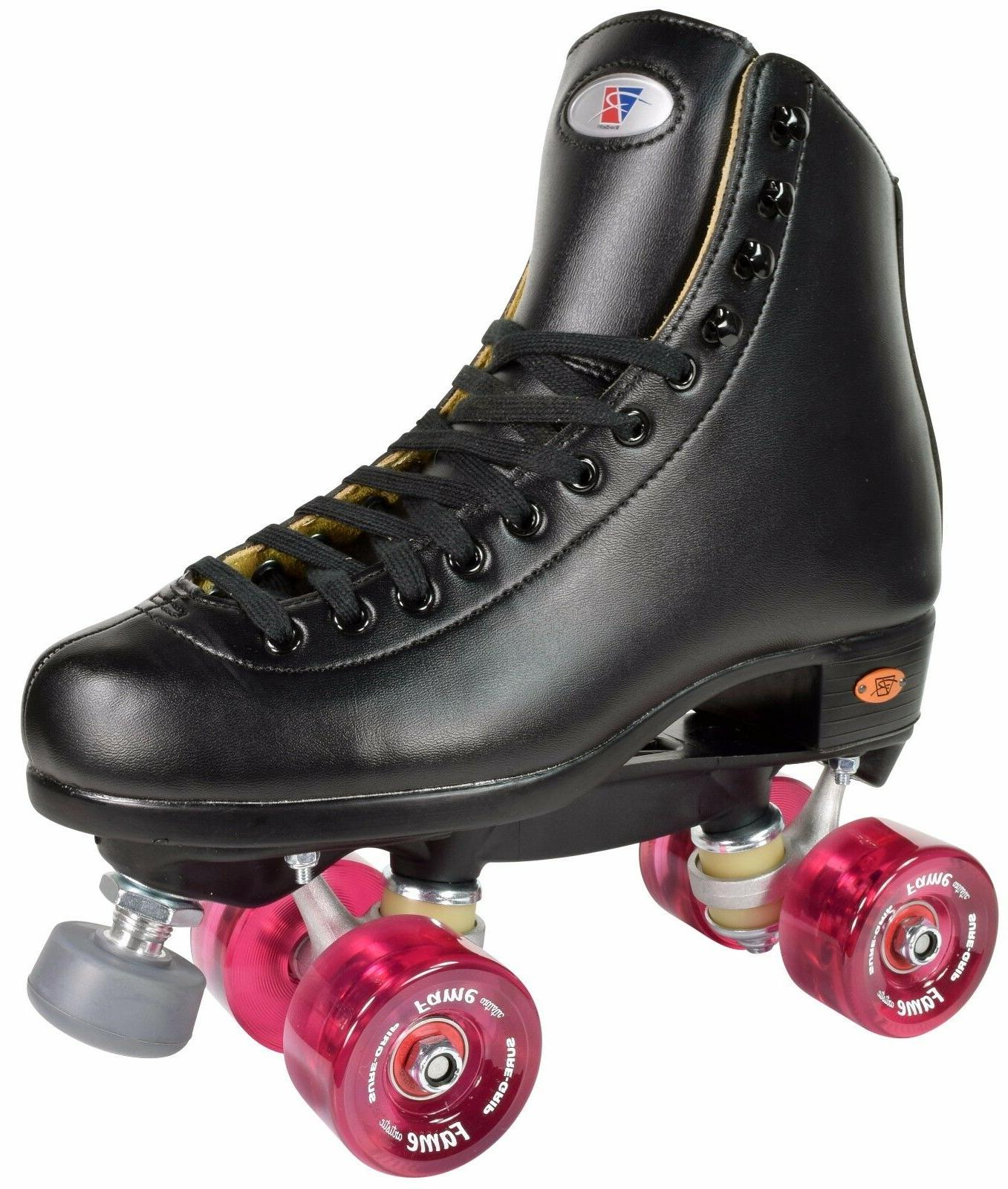 Riedell 111 Fame Roller Skates High Top Artistic Skate Clear Pink Wheels