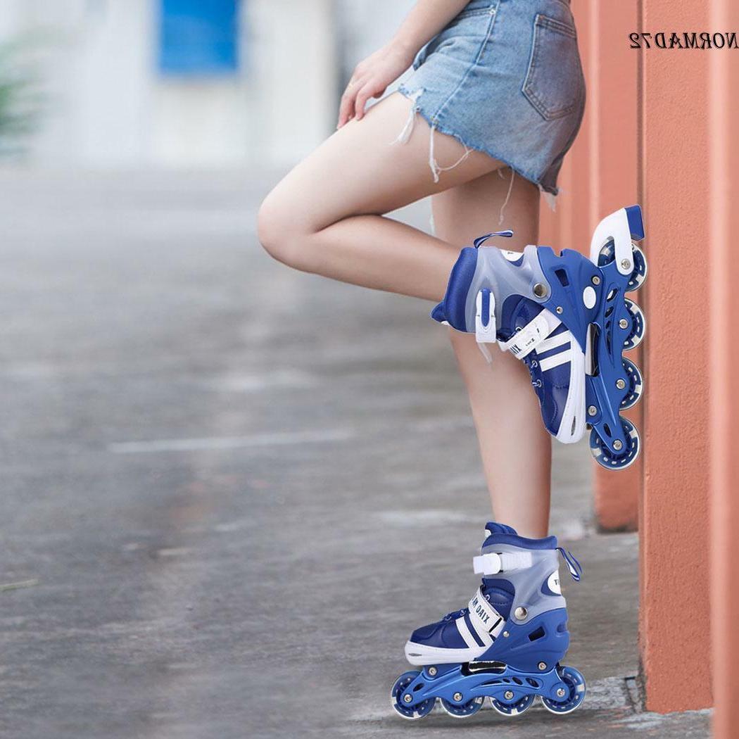 Pair Unisex Adult Kid Adjustable Inline Skates Roller Blades