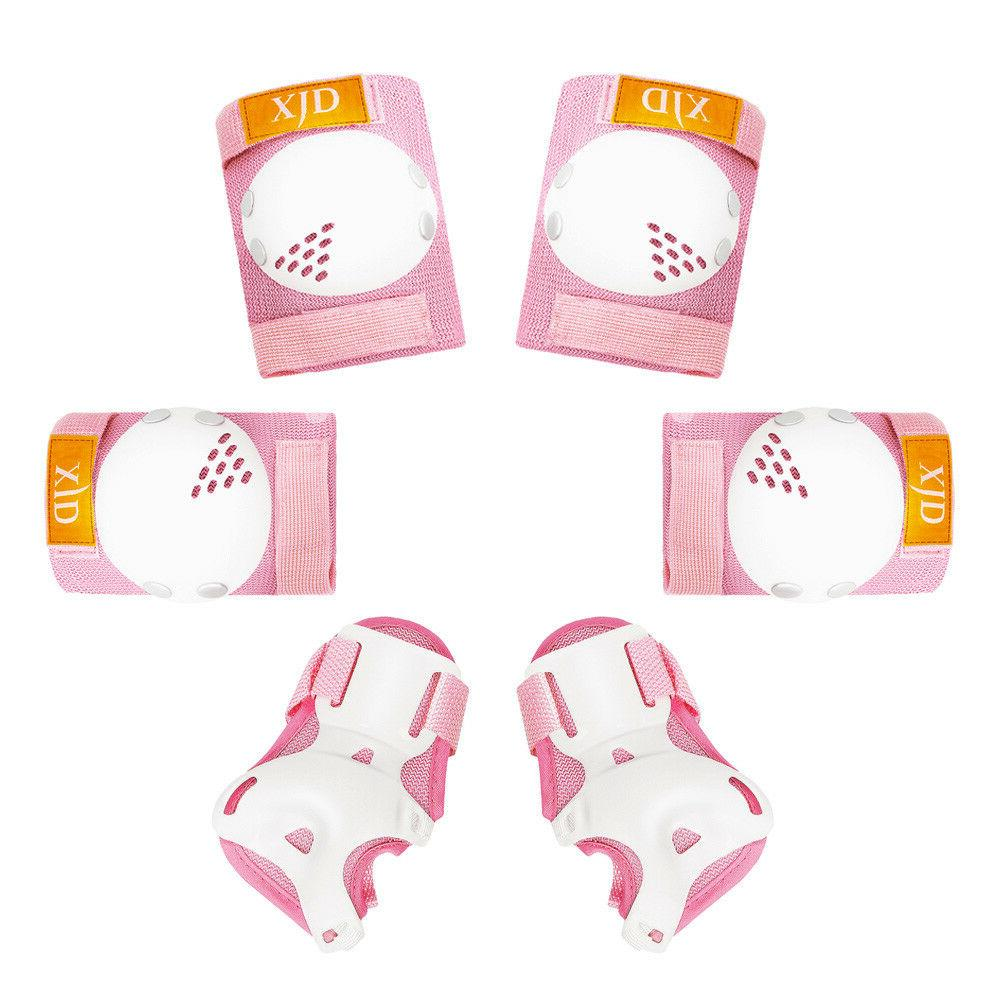 6pcs pink roller skates cycling knee elbow