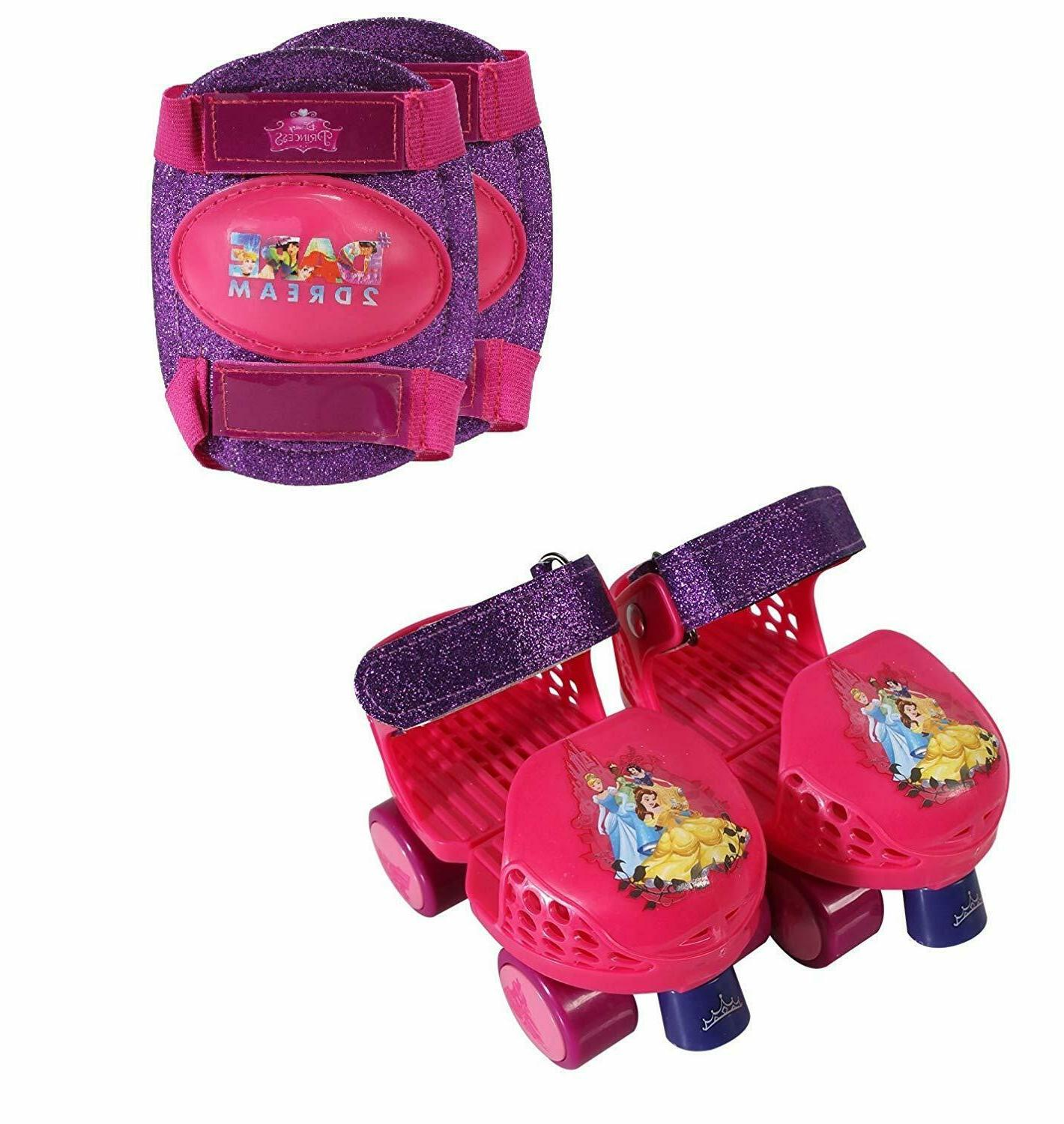 Disney Princess Roller Skates W Knee Pads Junior Size 6 12 F