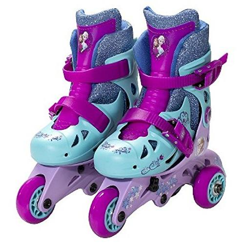 Disney Frozen Convertible Skates/Rollerblades w/ Wrist Guards, Ages 3-6, Size