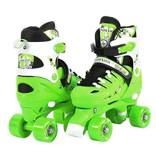 adjustable green quad roller skates