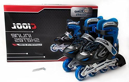 XinoSports Adjustable Inline Skates for Featuring Illuminating Front Safe and For Girls, 60-day Guarantee!