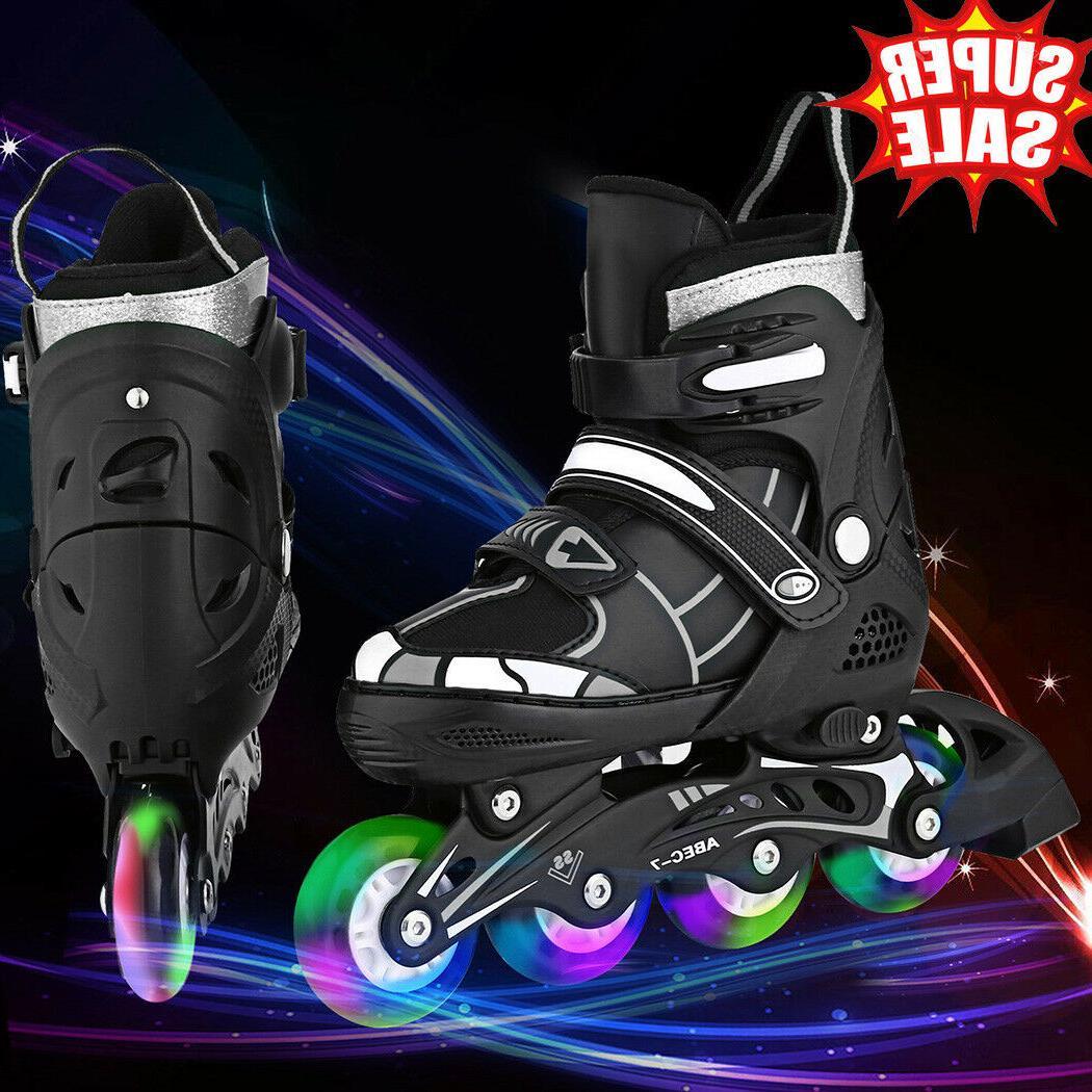 US Size 2-8 Black Adjustable Inline Skates Roller Blades Adu