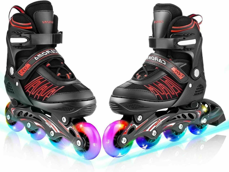 Inline Skates with 8 Lights Up LED Wheels Outdoor 3 Size Adj