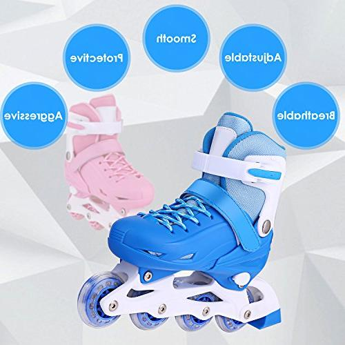 ANCHEER Kids Adjustable Skates Rollerskates for Boys/Girls/Adults Youth Outdoor Roller Size 1 3 4