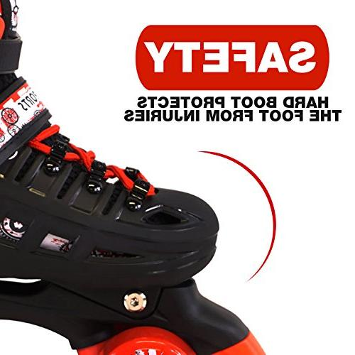 Scale Red Quad Roller Kids Sizes