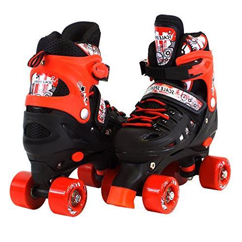 adjustable red quad roller skates