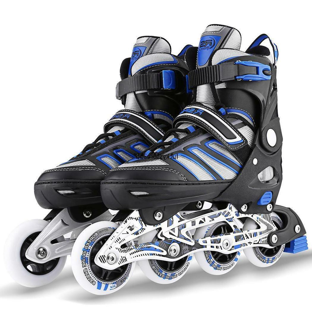 Adult Cool Adjustable Size Inline Skates PU Roller