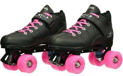black gtx 500 quad roller speed skates