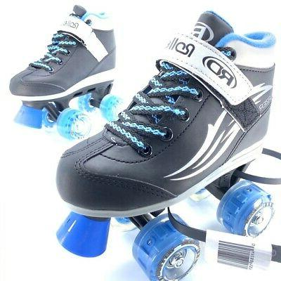 Roller Quad Light-Up Skates Black Lace 1
