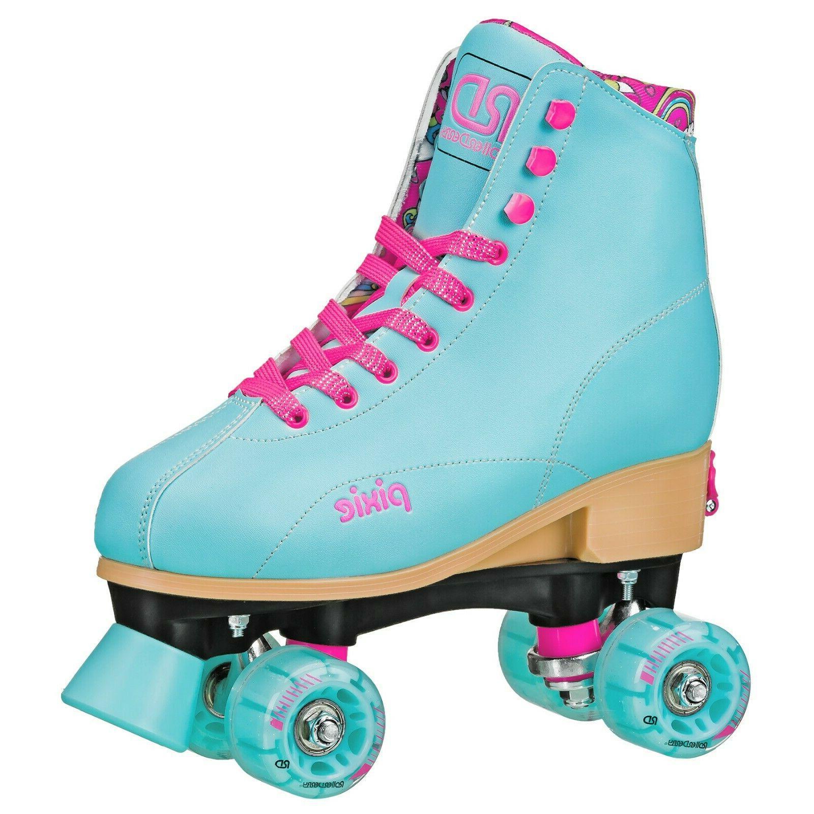 blue pink roller skates girls adjustable pixie