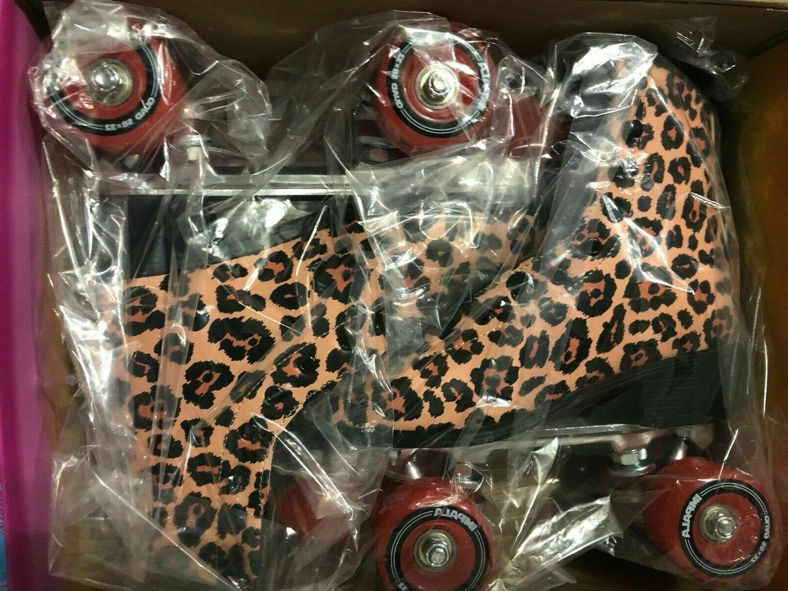 brand new roller skates leopard quad vegan