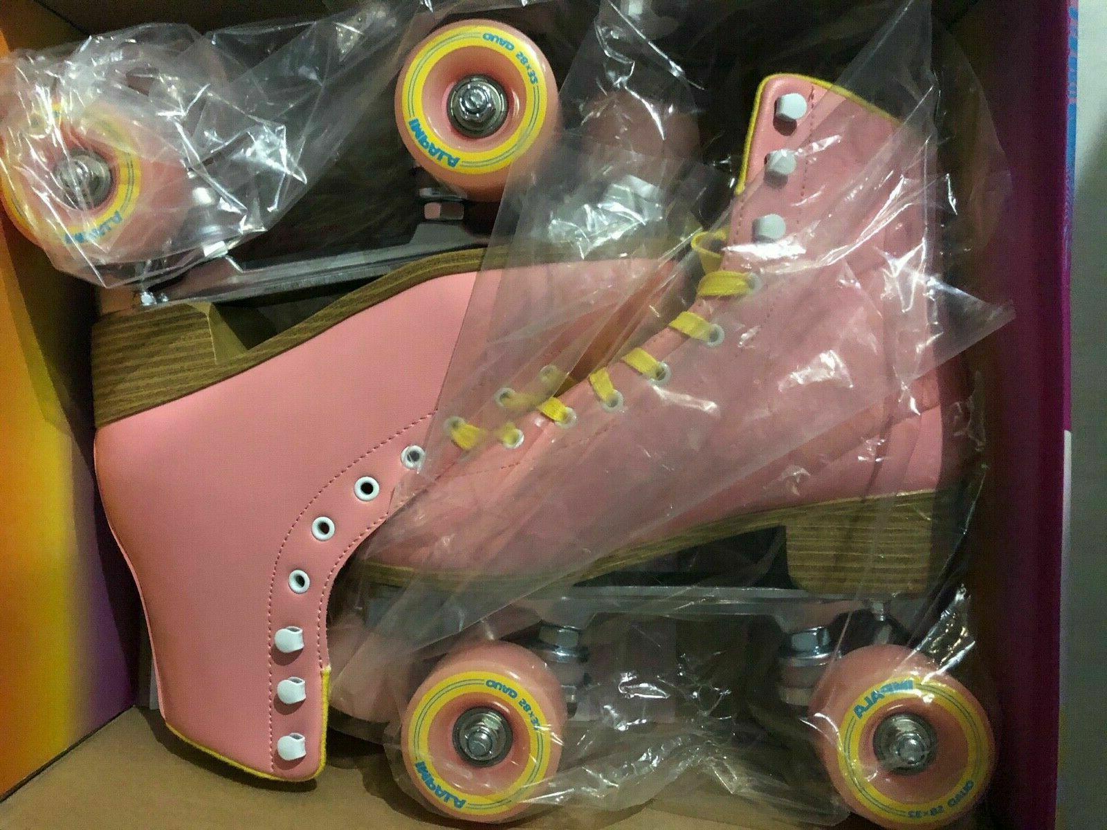 brand new roller skates pink quad vegan