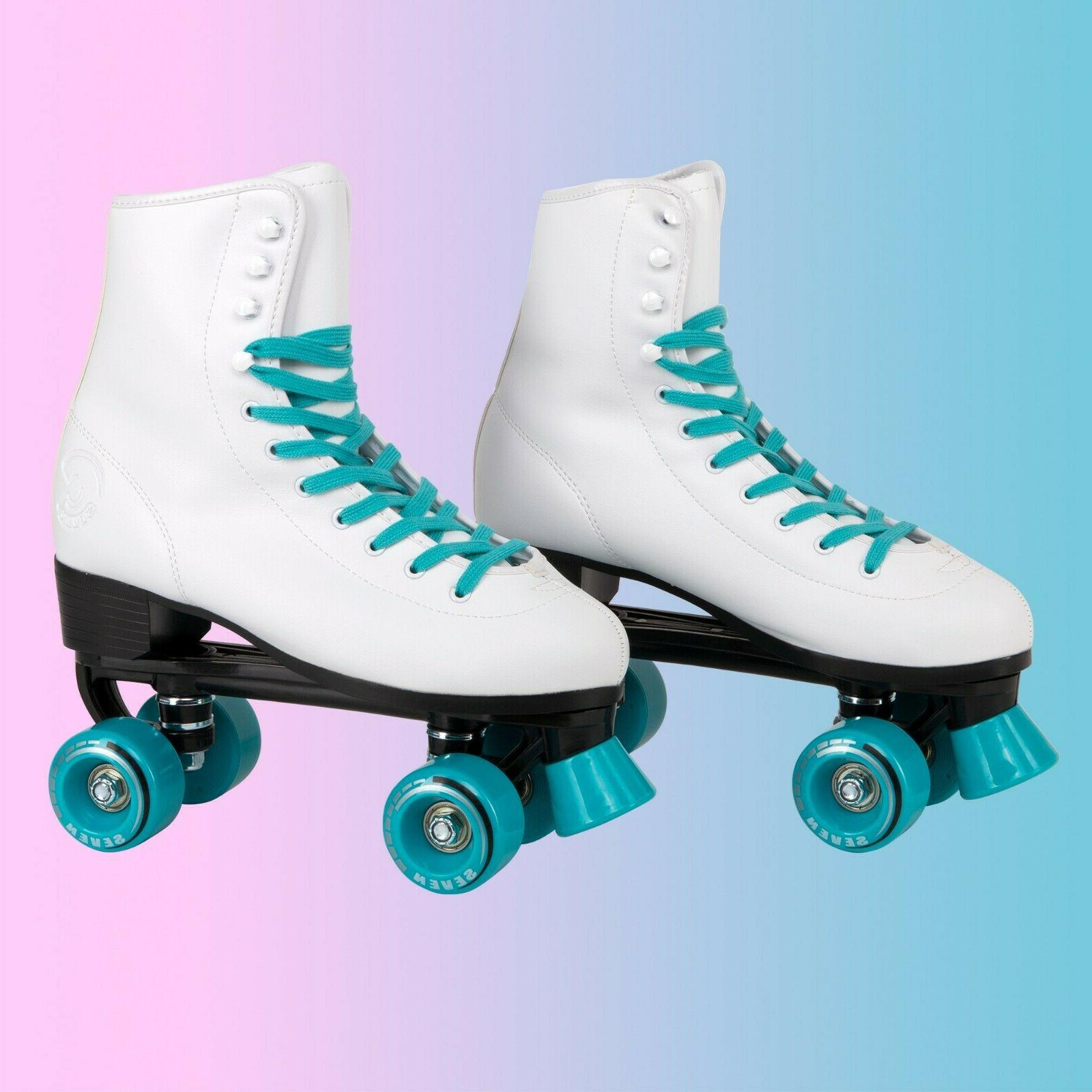 C7skates Teal Blue Soft Faux Leather Roller Skates Girls Chr