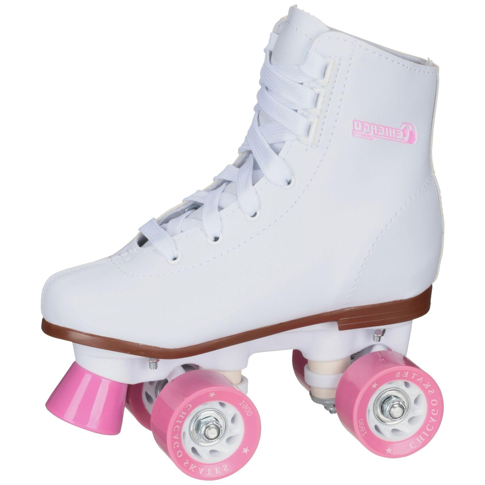 Chicago Girls' Classic Quad Roller Skates White Junior Rink
