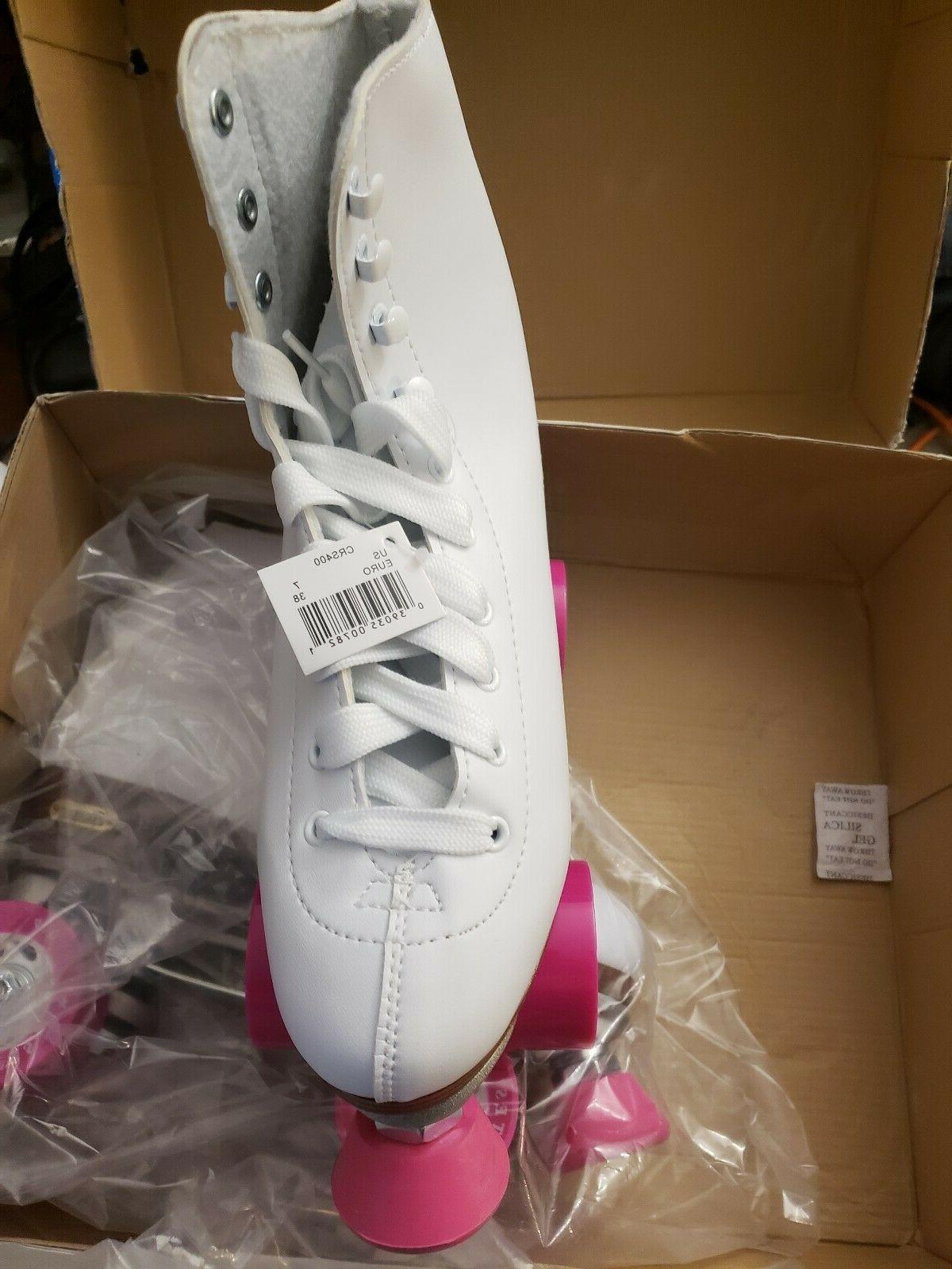 Chicago Women's Classic Roller Skates – White and Pink R