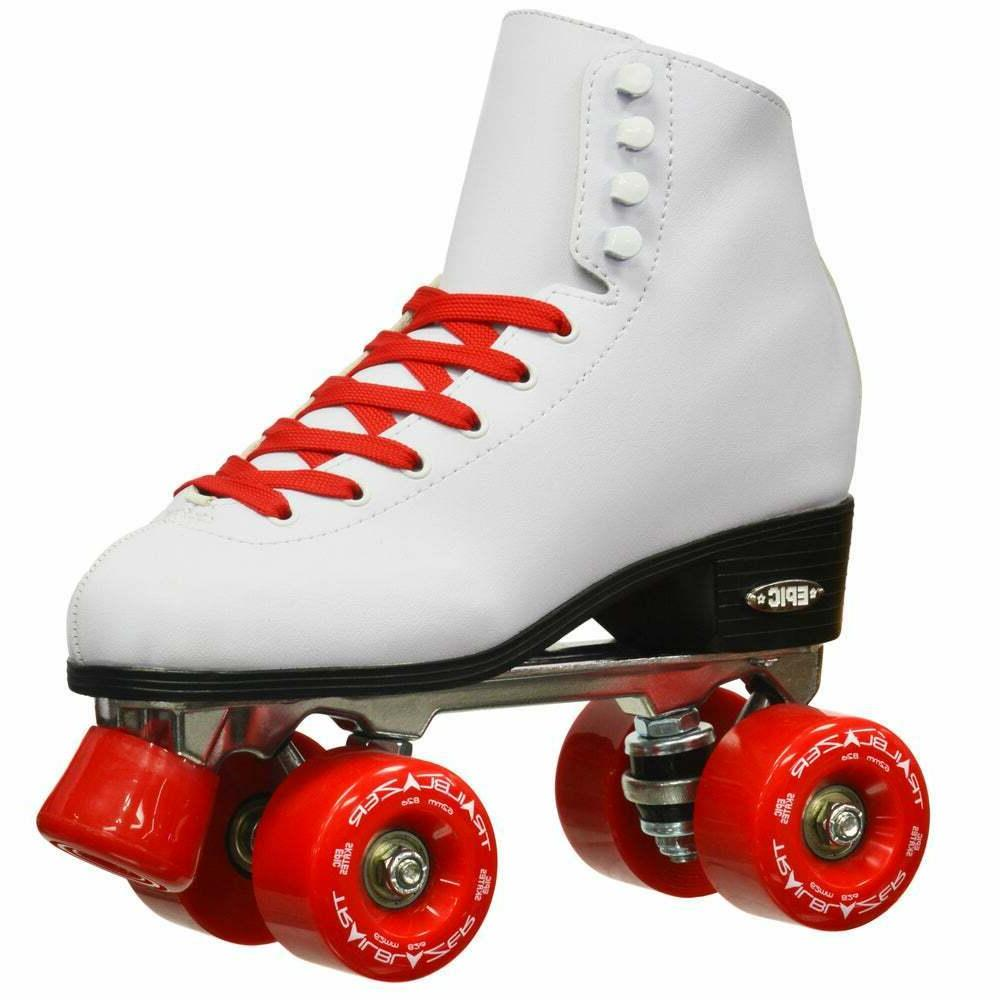 Classic Women High-Top Quad Roller Skates White with Red Whe