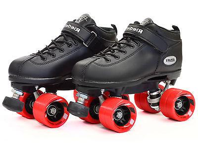 Riedell Dart Quad Roller Derby Skates Black w/ Red Wheels & 2 pair Laces