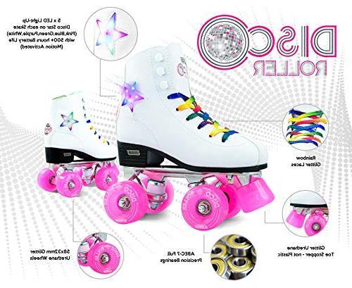 Crazy Skates Skates LED Light Up Flashing Classic Style with Rainbow Laces
