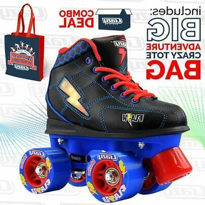 flash boys kids girls led roller quad
