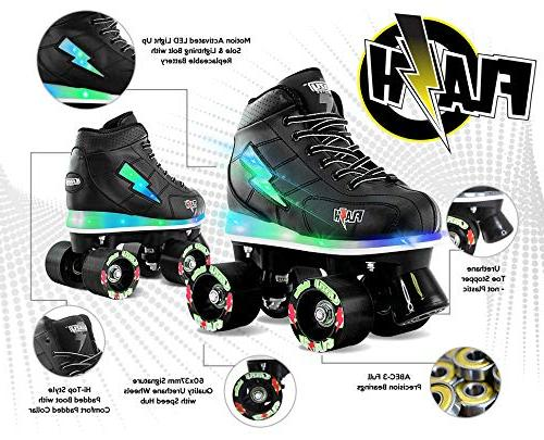Crazy Skates Light Up Flashing Lightning Black